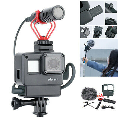 6Pc Vlog Cage Cover Case Housing Shell Frame Kit With Microphone For GoPro 7/6/5