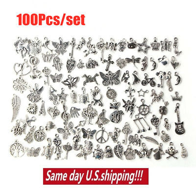 Wholesale 100/1000pcs Bulk Lot Tibetan Silver Mix Charm Pendants Jewelry DIY USA