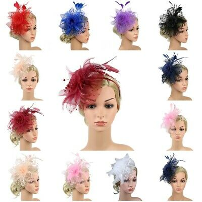 Ladies Flower Feather Hair Fascinator Headband Wedding Royal Ascot Races Bespoke