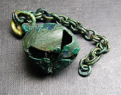 Ancient Bronze  Viking Pendant  Chain BELL (1.7).
