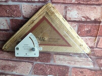 ANTIQUE TOOL RULER - UNIQUE ADJUSTABLE TRIANGLE - VINTAGE Made in England UK