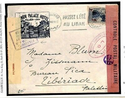F519 FRENCH COLS Lebanon Beirut ww2 Hotel Advert 1940 Cover