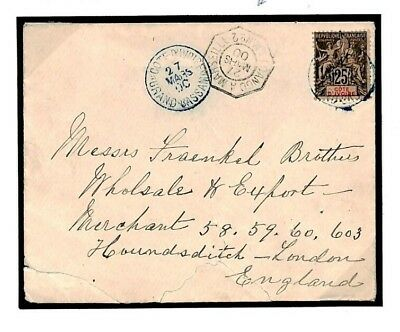 F486 French Colonies IVORY COAST *Grand Bassam* Blue CDS 1900 Cover