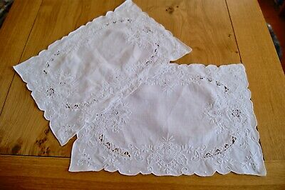 Pair Vintage White Cotton Madeira Needlelace Embroidered Tablecentres Traycloth