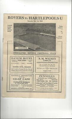 Doncaster Rovers v Hartlepool United Football Programme 1949/50