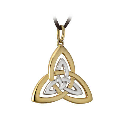 Silver Gold Plated Pendant Necklace Two tone Trinity Knot on Wax Cord