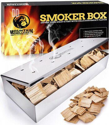Grill Smoker Box for Wood Chips - Use a Gas or Charcoal BBQ and Still Get...