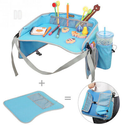 EocuSun Travel Tray, Kids Snack Play Trays with Mesh Pockets and Cup Holders...