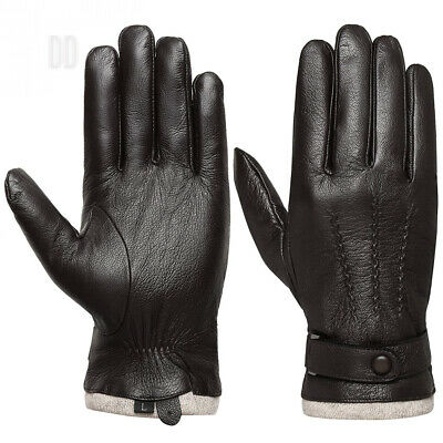 Men's Touchscreen Genuine Leather Gloves - Acdyion Cashmere Lining & Cuff...
