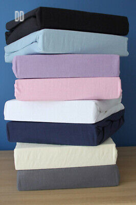 Family Bedding 100 Percent Cotton Jersey Double Bed Fitted Sheet, 140 cm x...
