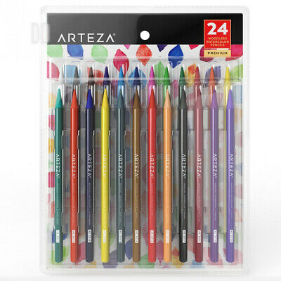 ARTEZA Woodless Watercolor Pencils, Set of 24, Multi Colored Art Drawing...