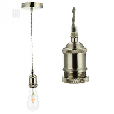 COZZY Vintage Ceiling Pendant Light Fitting, Grey Twisted Braided Flex,E27...