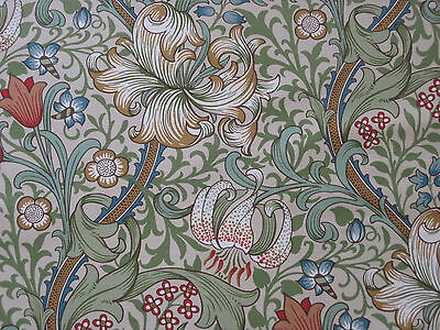 "WILLIAM MORRIS CURTAIN FABRIC ""Golden Lily"" 3 METREs GREEN/GOLD LINEN UNION"