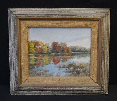 Vintage Landscape Oil Painting On Artist Board From NJ Signed Hubbard 13 X 15 #1