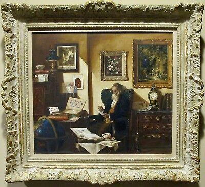 """Fine Detailed Oil Painting on Canvas """"The Stamp Collector"""" by Curt Bruckner"""