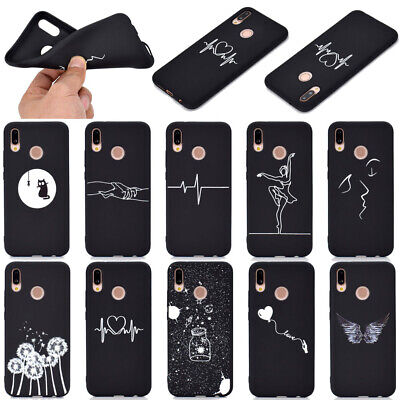 For Huawei P20 P30 Pro P Smart 2019 Soft Silicone Black Painted TPU Case Cover