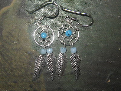 Small 27mm 925 Sterling Silver Southwest Turquoise Dream Catcher Earrings