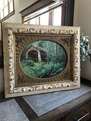 1800s Antique Victorian White Ornate Picture Frame Wedding Shabby Chic Museum