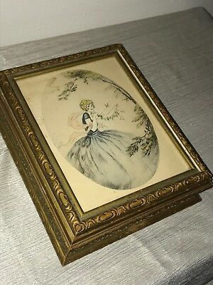 Antique Gilt Painted Wood Jewelry Dresser Vanity Box with Mirror & Art Print Pic