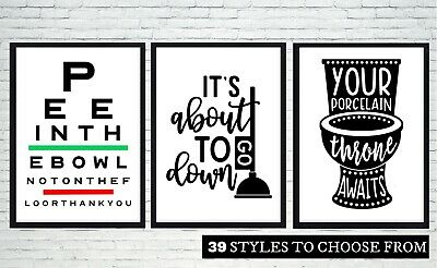 SET OF 3 Bathroom Wall Art Prints. 39 STYLES Sayings/ Quotes/ Funny Home Picture