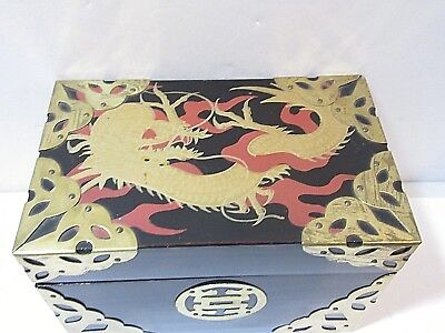 Black Lacquered Oriental Box With Dragon Playing Cards Holder Vintage Brass