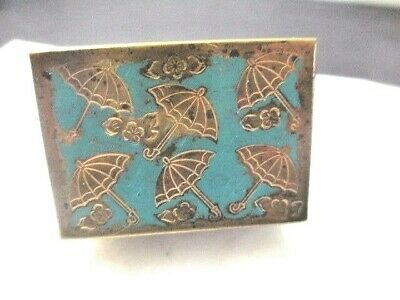 Brass And Turquoise Color Enamel Box Etched Umbrella Design Small Pill Ring Size
