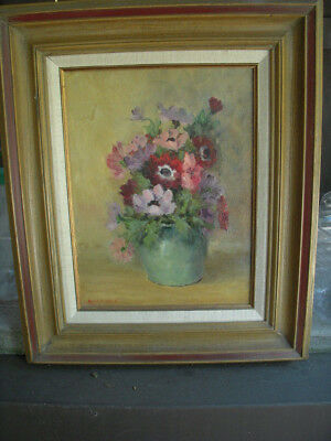 Pot of Flowers framed oil on canvas by Alice V. Davis (Cedar Hill,Texas?)
