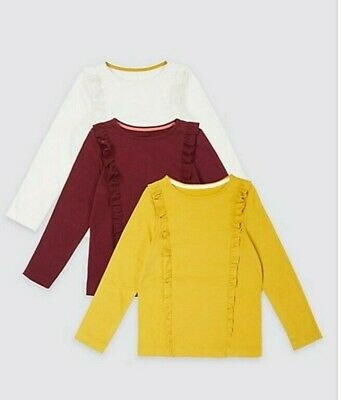New 3 Pack Baby Girls Long Sleeved Frill Tops Pure Cotton Marks And Spencer