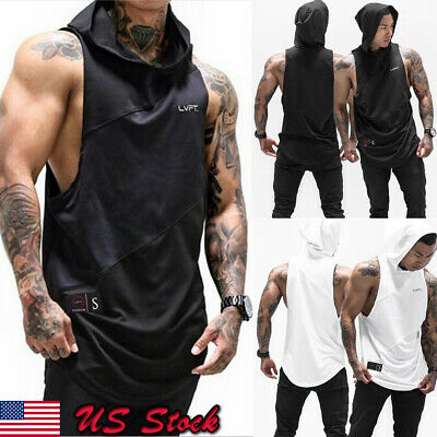 191a8996d2e6a USA Men Gym Clothing Bodybuilding Stringer Hoodie Tank Top Muscle hooded  Shirt