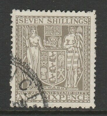 New Zealand 1940-58 George VI 7s 6d Olive-grey SG F198 Fine used.