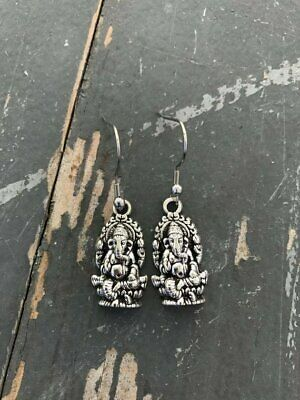 Ganesh Earrings, Silver Plated, Hippie, Boho, Ganesha, Elephant God - Hindu