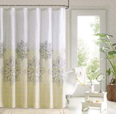 90° by Design Lab Jessica Printed Shower Curtain and Hook Set Yellow Gray