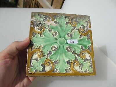 Antique Ceramic Tile Vintage Floral Flower Leaf Rococo Leaf Old Baroque CRAVEN