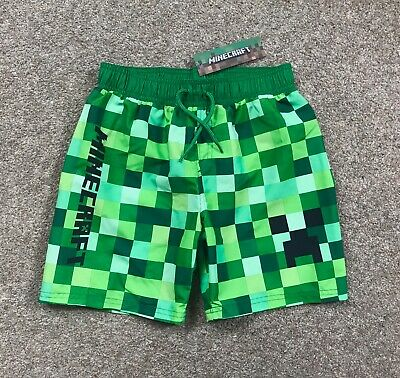 0ff55aa0ebb3c Minecraft Boys Swim Shorts Swimming Trunks Age 5-15 Yrs Gaming Creeper  Primark