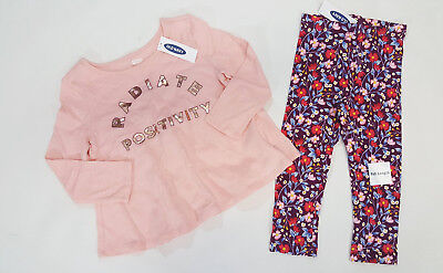 NWT Old Navy Girls Size 2 2t Pink Positivity Top & Maroon Flower Leggings