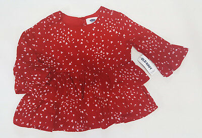 NWT Baby Girls Old Navy Size 3 3t Red Heart Ruffle Top Shirt Christmas Holidays
