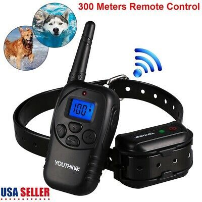 Rechargeable Electric Dog Training Collar Shock Collar With LCD Remote 300M US