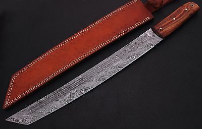 Damascus Steel Blade Hunting,Camping,Machete,Tanto Knife,Rose Wood Handle