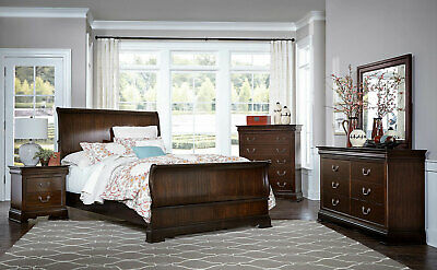 MERIDIAN 5PCS DARK Brown Bedroom Set w/ King Bed Dresser Mirror two  Nightstands
