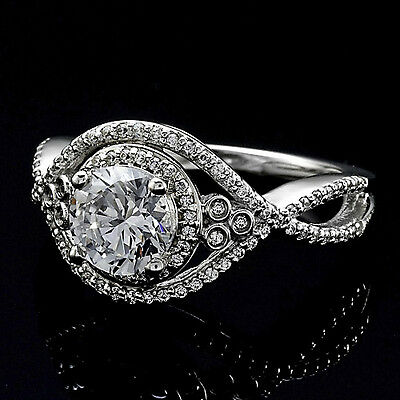 1.27 Ct Round Cut Natural Diamond Halo Engagement Ring 14K White Gold