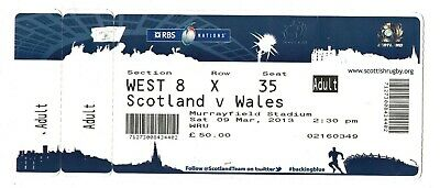 Scotland v Wales Six Nations Rugby Union Ticket Mar 2013