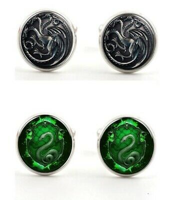 Game of Thrones or Harry Potter Slytherin Snake Cufflinks Cuff Links Prom Formal