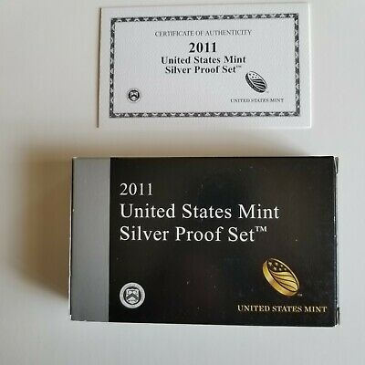 2011 S US Mint Silver Proof Set  14 Coins   Boxed with COA