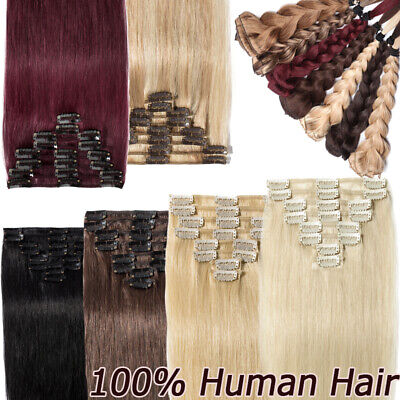 Clip In Real 100% Human Hair Extension Real Remy Quality Full Head US Stock W70