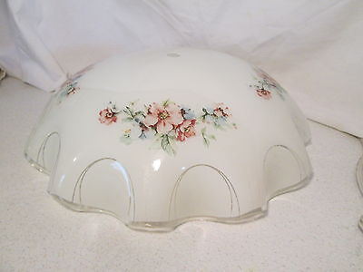 Vintage Light Fixture Shade Globe with Center Hole White with Pink & Blue Flower