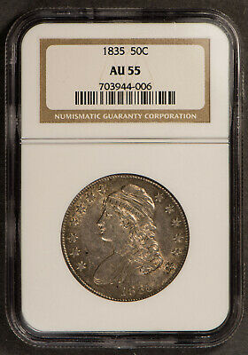 1835 Capped Bust 50C Half Dollar ** Ngc Au 55 ** High Grade Coin, Luster!  #J123