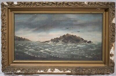 Antique Oil Painting on Canvas of Rocky Seascape Coastal View with Sail Boat