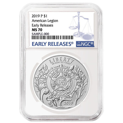 2019-P UNC $1 American Legion 100th Ann NGC MS70 Blue ER Label