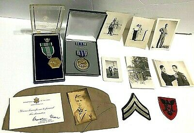 Grandpas Treasure Lot Knife Military Army photograph Medals Badges skeleton keys