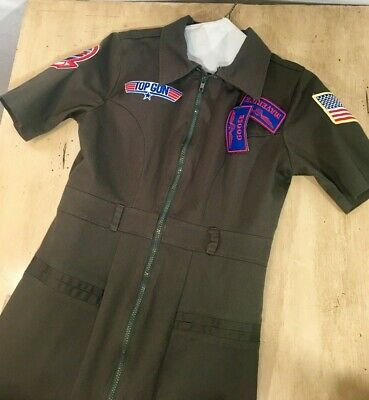 Top Gun Military Flight Costume Dress Size S Maverick Goose Olive Green